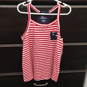 Circo Little Girls Red White Blue Tank Top